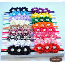 cheap satin ribbon satin ribbon flower headband matching sparking rhinestone