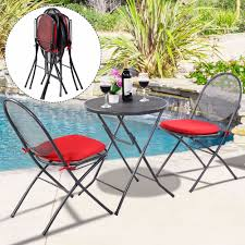 metal patio table and chairs 3 pcs folding steel mesh outdoor patio table chair garden backyard