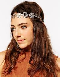 chain headband asos filigree flower chain headband in metallic lyst