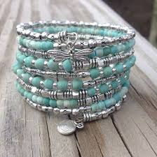 make bead bracelet wire images Darling dragonfly multi coil memory wire wrap bracelet with jpg