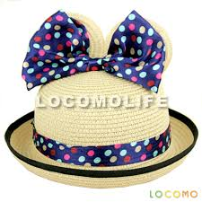 mickey ribbon girl mickey minnie mouse ear ribbon bow straw hat beige
