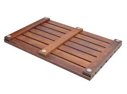 handcrafted teak wood bath mat non slip feet for in and out the