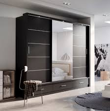 Sliding Door Bedroom Furniture Sliding Door Wardrobe Arti 1 With A Mirror 250cm Black Matt