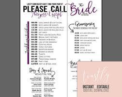 wedding schedule etsy