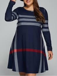 plus size striped long sleeve t shirt dress purplish blue xl in