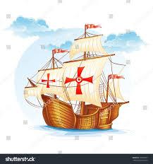 cartoon image sailing ship spain xv stock vector 138518627