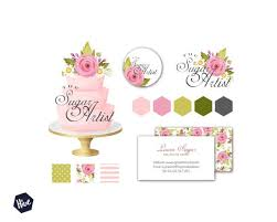 wedding cake logo tiered wedding cake logo watercolor cake logo business