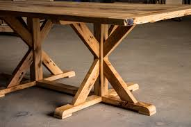 reclaimed trestle dining table reclaimed x trestle dining table how to build johnmalecki com