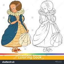 cute young princess fairytale characters coloring stock vector