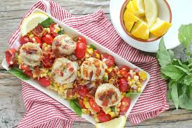 grilled scallops on fresh corn are perfect summer salad
