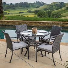 Grey Wicker Patio Furniture by Lenny Outdoor 5pc Grey Wicker Dining Set Walmart Com