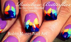 rainbow butterfly nails purple nail art design tutorial youtube