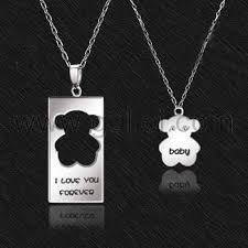 Custom Necklace Personalized Name Engraved 925 Sterling Silver Bear Couple