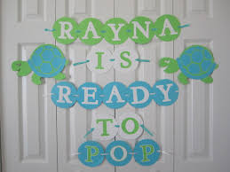 turtle baby shower decorations ready to pop baby shower banner personalized with name turtle