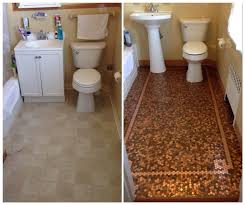 penny tile floor mosaic before and after penny tile step by