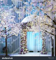 beautiful wedding arch flowers artificial trees stock photo