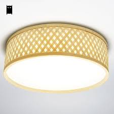 Flush Mount Led Ceiling Light Fixtures Round Bamboo Wicker Rattan Acrylic Led Ceiling Light Fixture