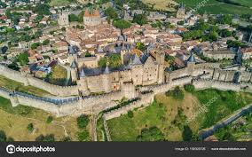 carcassonne aerial top view of carcassonne medieval city and fortress castle