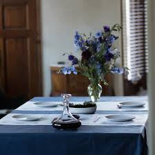 Fitted Round Tablecloth Indigo Navy Blue Pure Linen Round Tablecloth Solid Color