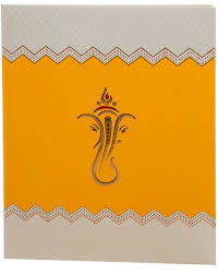 wedding cards in india indian wedding card in yellow with embossed ganesha wedding