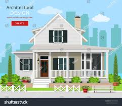 Cottage House Designs Cute Modern Graphic Cottage House Trees Stock Vector 448963528