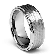 mens tungsten wedding bands laser engraving service 9mm hammered s s