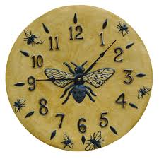 honeybee ceramic art wall clock in yellow is a rustic large