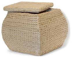 square havana weave lined storage ottoman with lid contemporary
