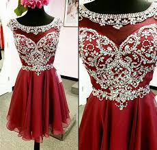 charming cap sleeves burgundy homecoming dresses crystals beads