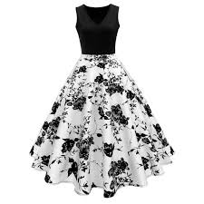 black and white dresses vintage print a line high waisted dress in white and black m