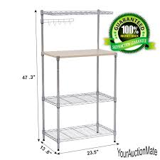Microwave Stand Microwave Cart Baker U0027s Rack 3 Tier Kitchen Storage Stand W Wood