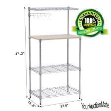 Wood Bakers Rack Microwave Cart Baker U0027s Rack 3 Tier Kitchen Storage Stand W Wood