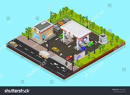 Gas Station Floor Plans Vector Isometric Low Poly Illustration City Stock Vector 623276345