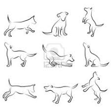 four stylized dogs on a white background dog design design set