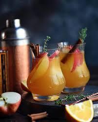 bourbon orange apple cider cocktails with cinnamon simple syrup