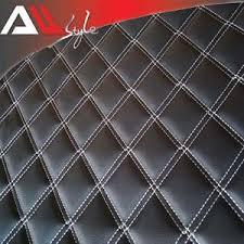 Upholstery Fabric Faux Leather Car White Stitching Diamond Quilted Black Faux Leather Upholstery