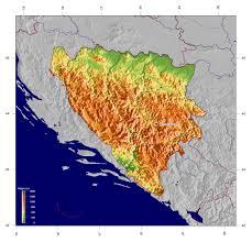 Bosnia Map Large Elevation Map Of Bosnia And Herzegovina Bosnia And