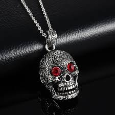 red gothic necklace images Gothic stainless steel skull pendant necklace with red cubic jpg