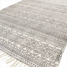 Flat Weave Cotton Area Rugs White And Black Cotton Block Print Area Accent Dhurrie Rug Woven