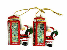 christmas decoration santa by london red telephone box christmas