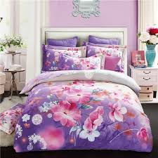 pink and purple hibiscus flower print full queen size bedding