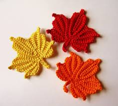 amigurumi leaf pattern crocheted maple leaves small red orange and yellow leaves