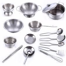 cuisine et ustensiles 16 pcs en acier inoxydable enfants maison cuisine jouet ustensiles