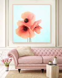 floral decor coral pink and blue poppy print poppy photography poppies wall