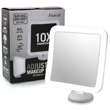 bright light magnifying mirror led lighted makeup mirror with suction mount 10x travel makeup