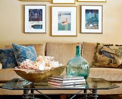 living room coastal living room with seashell wallpaper accent