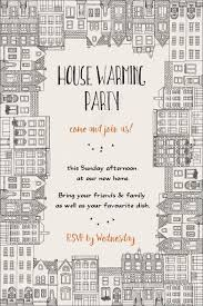 house warming party invitation hand drawn card template framed