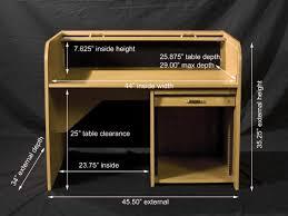 Reception Desk Height Dimensions Hsa Rolltops Stdrt Ii Standard Rolltop Desk Proaudio Com