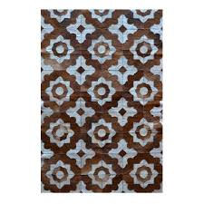 natural area rugs com natural stitch marrakeche brown and natural 8 ft x 10 ft cowhide