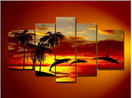image painted wall dolphins home